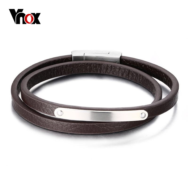 Vnox 2017 New Genuine Leather Bracelet Bangle Black / Brown Color Simple Women Party Jewelry