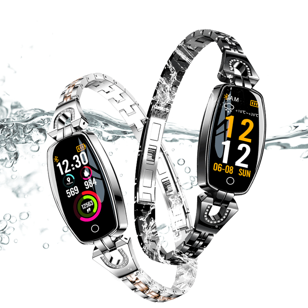 Cristal montre intelligente femmes fille podomètre moniteur de fréquence cardiaque étanche montres Sport dames montre-Bracelet intelligente Bracelet