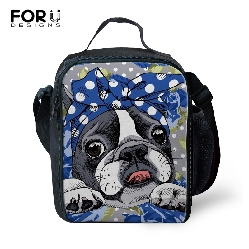 FORUDESIGNS Hot Sales! Kids Tote Lunch Bag Large Capacity Thermal Food Picnic Lunch Bags for Women Boston Terrier Pattern Bags