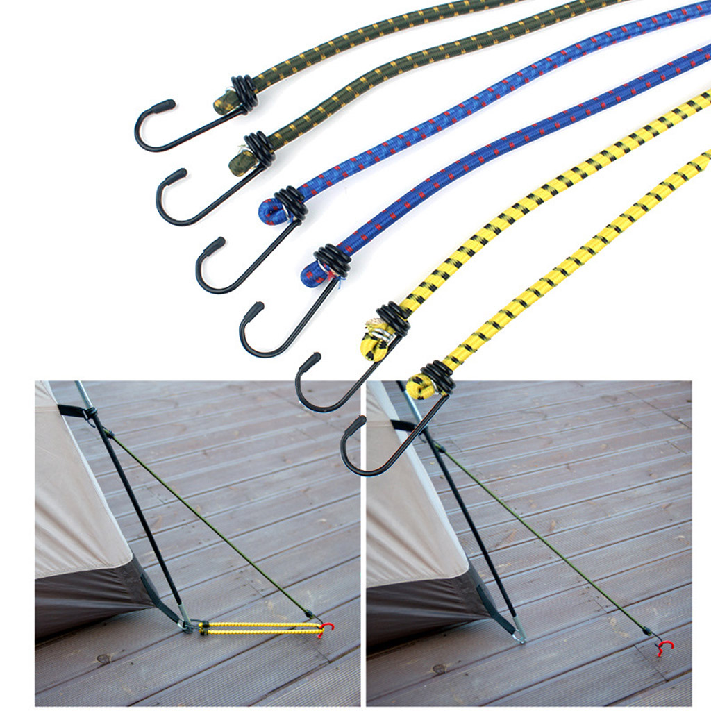 6pcs Elastic Stretch Bungee Cords Rope Luggage Packing Strap with Double End Hook Tarp with Metal for Outdoor Travel Camping