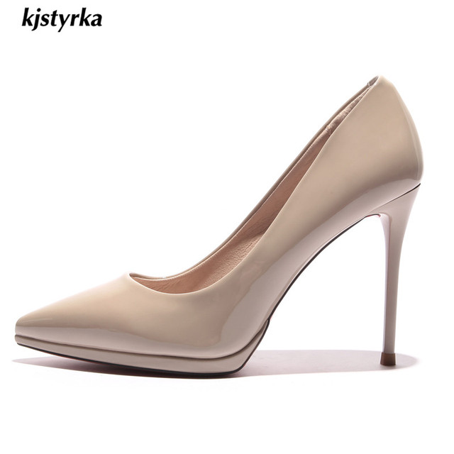 kjstyrka 2018 spring autumn pointed toe women shoes red bottom elegant ladies party patent leather thin high heels zapatos mujer