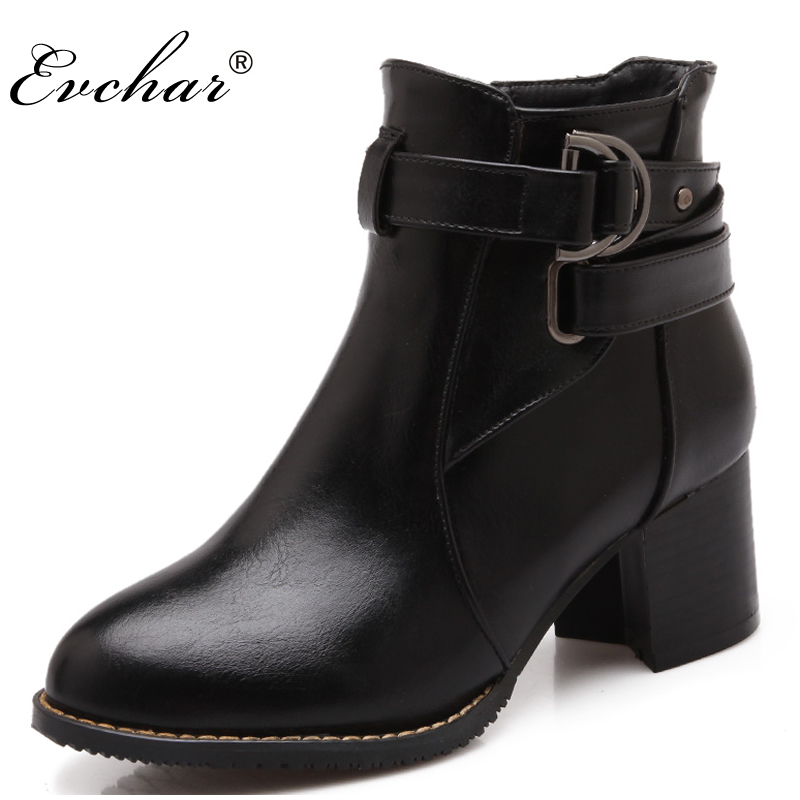 Women Boots Thick Heel Boots Ankle westerm Pointed Toe Side zipper Boots Female Buckle martin boots Shoes Large Size  size 31-48 women spring autumn thick high heel genuine leather pointed toe side zipper buckle fashion ankle martin boots sxq0806
