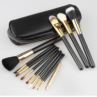 Professional 12pcs Set Goat Hair Makeup Brushes Cosmetic Make Up Set With Zipper Case Bag Kit