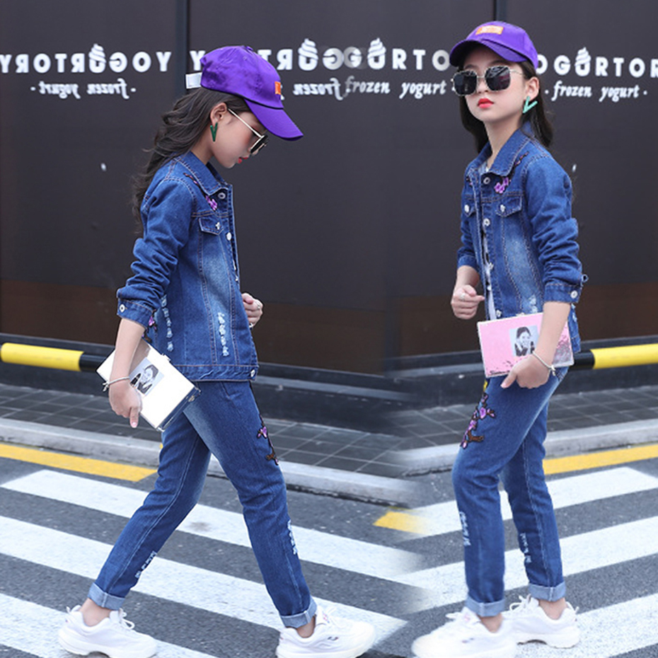 Image 4 - Girls Clothes Set Denim Jackets + Jeans Pants 2PCS Set For Girls Flower Embroidery Clothes For Girls 6 8 10 12 13 14 YearClothing Sets   -