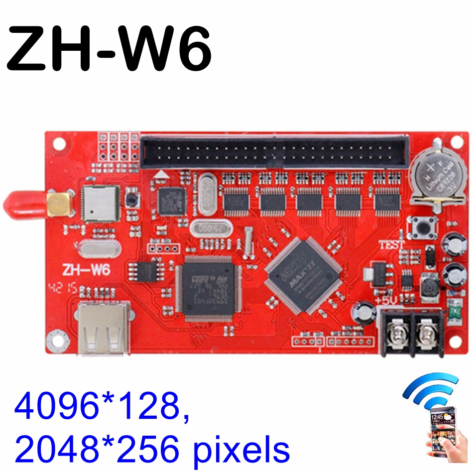 все цены на ZH-W6 wifi led controller card, LED P10 Module indoor, semi-outdoor, outdoor wifi wireless led sign card, U disk drive board онлайн