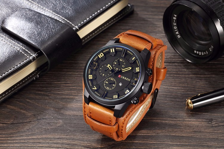 Curren 8225 Army Military Quartz Mens Watches Top Brand Luxury Leather Men Watch Casual Sport Male Clock Watch Relogio Masculino 24