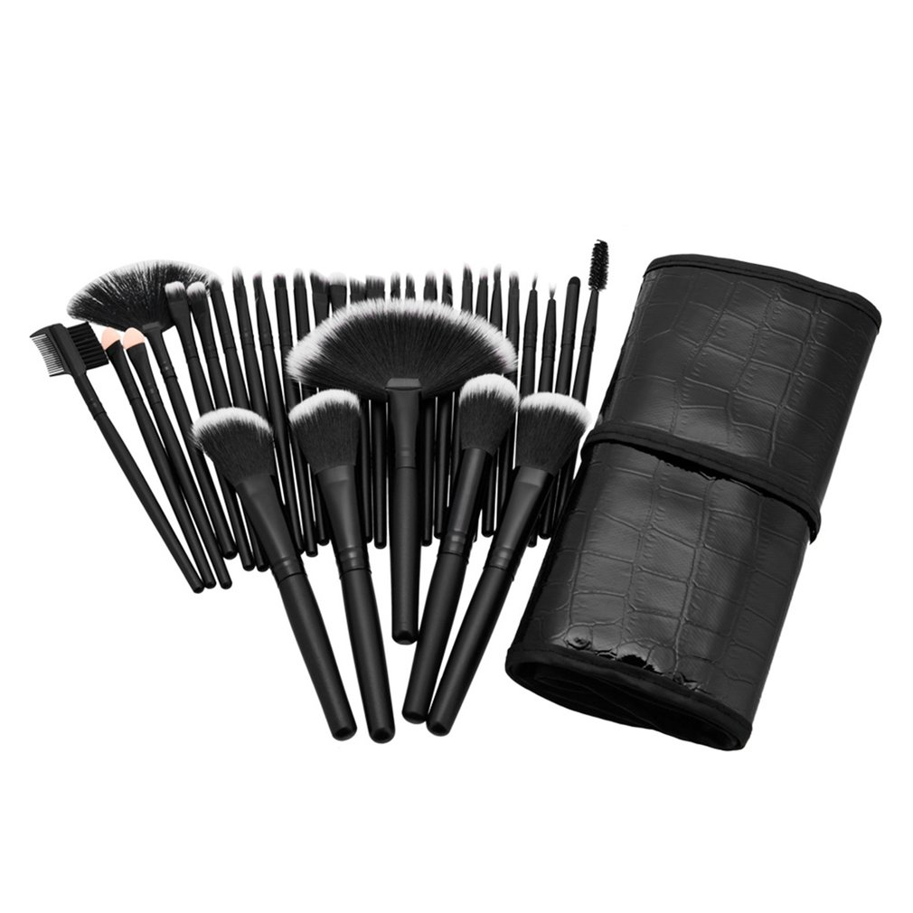 Professional 32pcs Makeup Brushes Cosmetic Set Eyebrow Face Cheek Blush Foundation Powder Makeup Brush Set With Black Case new free shipping by ems dhl 50 set lot new fiber hairy 32 pcs professional makeup brushes cosmetic set black leather bag