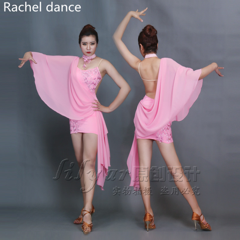 2017 Latin Dance Dress Women Tassel Style Back Opening Irregular Salsa Tango Rumba Flamengo Latin Dance