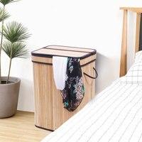Flip Cover Type Bamboo wood Folding Laundry Basket Hamper US Stock