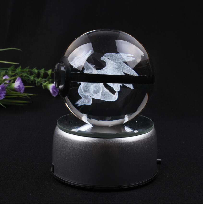New Design Pokemon Ball Mega Charizard Crystal Ball with Gift Box and LED Base