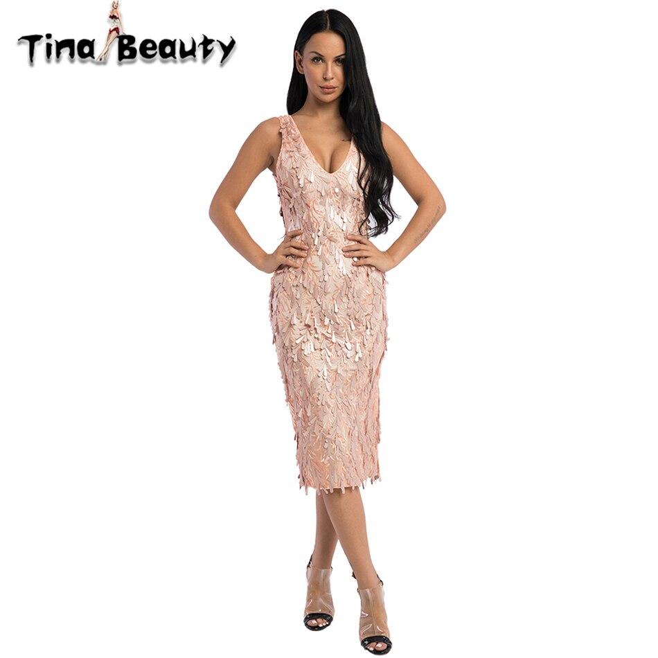 Tina beauté nouveau 2018 été tenue de club Sequin rose robe de soirée femmes profonde col en V discothèque Sexy moulante robe dames robes de bal