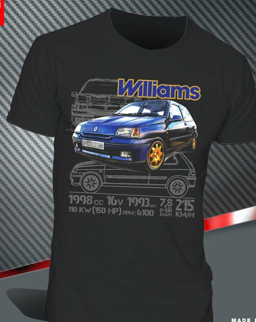 T-Shirt Renault Clio Williams 2.0 16V Maxi Rally Legend Montecarlo 2019 Hot Sale Men'Short Sleeve O-Neck Summer Print T Shirt