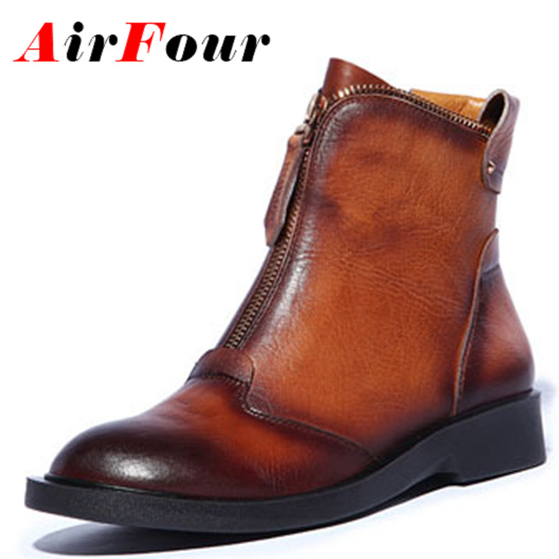 ФОТО Airfour Black Brown Size 34-39 2014 New Arrive Beautiful Fashion Women Winter Boots Genuine Leather Ankle Boots