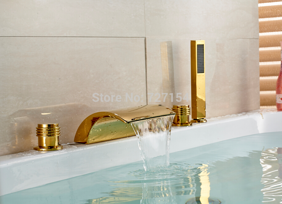 Free shipping! Luxury Golden Brass Deck Mounted Bathtub Faucet Waterfall Spout W/ Hand Shower