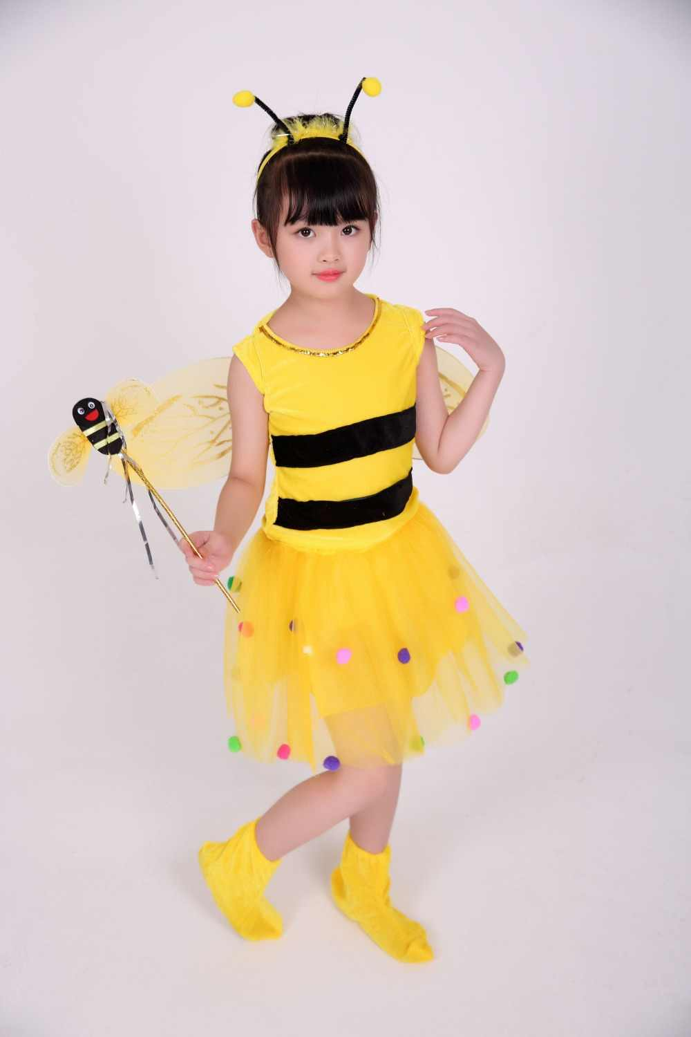 08246ccf9383 Yellow Halloween Animal Honey Bee Dress Up Costume for Kids Carnival  Birthday Party Dresses for Little