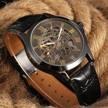 Winner Skeleton Watches Transparent Roman Number Watches Men Luxury Brand Mechanical Big Face Watch Steampunk Mens Wristwatches