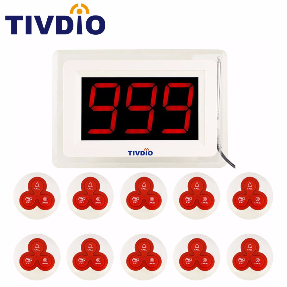 TIVDIO T-114 Wireless Pager Calling System Restaurant Call Paging System with 1 Host Display+10 Table Bells Equipment F9405 wireless pager system 433 92mhz wireless restaurant table buzzer with monitor and watch receiver 3 display 42 call button