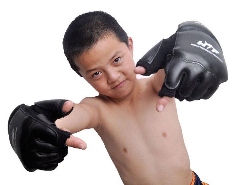 Crianças adulto metade dedo luvas de boxe