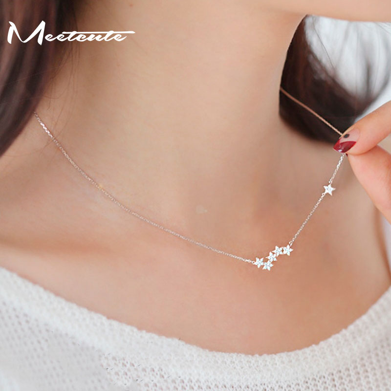 Drop Shipping 925 Sterling Silver Chain Necklaces Star Pendants & Necklaces Jewelry Collar Colar de Plata золотые серьги по уху