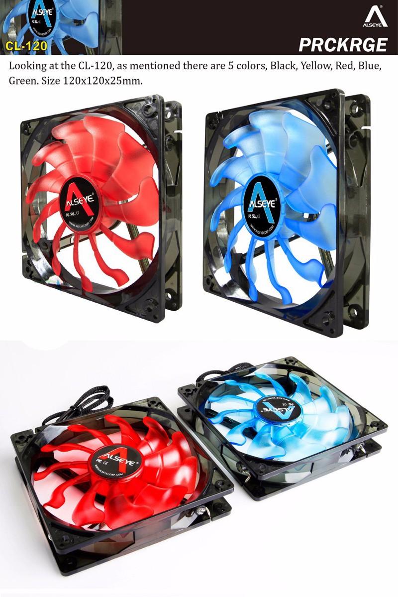 Alseye 120mm Fan For Computer Dc 12v 3pin 96cfm Led Cooling Case 12 Cm Sooncool 2 3