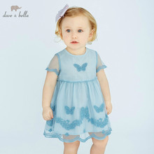 DB10141 dave bella summer baby girl lolita embroidery clothes children birthday party wedding dress kids boutique dresses