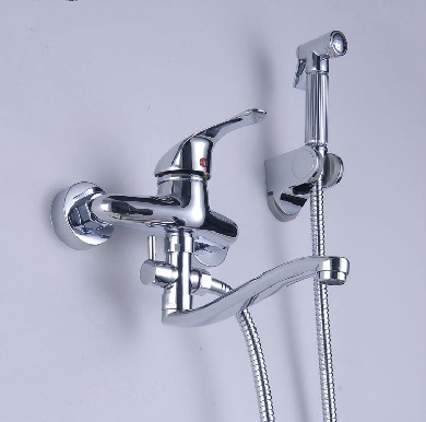 Wall Mounted Bathroom Shower Mixer Tap Set Bathtub Hand Bidet Sprayer Hot And Cold Water Modern