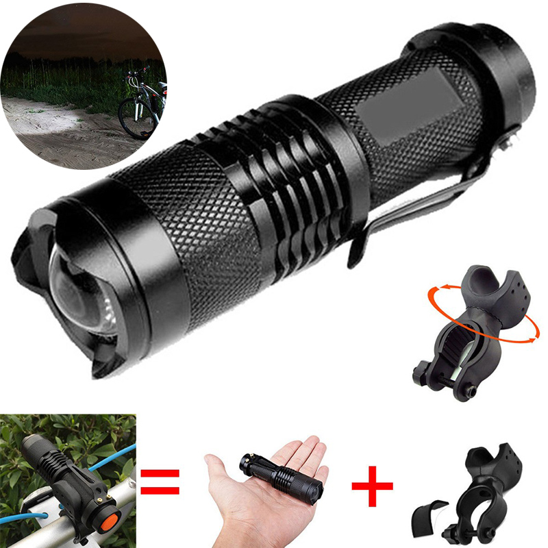 Zk20 3000LM Police ZOOM Q5 LED Cycling Bike Bicycle Riding Lamp 14500/AA Flashlight 360 Mount Clip Torch Lamp Light