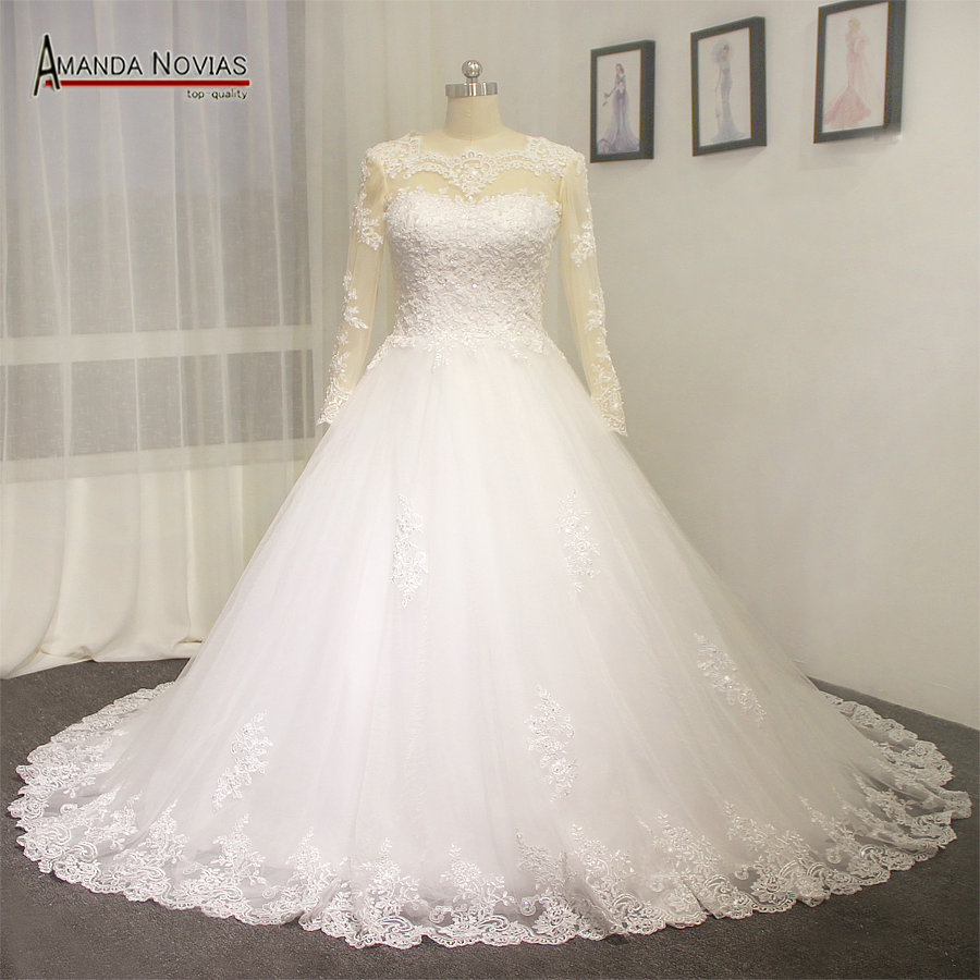 Real Wedding Dress Model With Full Color Sleeves A Bit High Neck In Dresses From Weddings Events On Aliexpress Alibaba