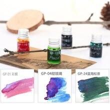 Pozie poetry gp series tinta de 24 colores con pluma de inmersión en polvo dorado, pluma estilográfica, tinta de color. 5 ml/unids