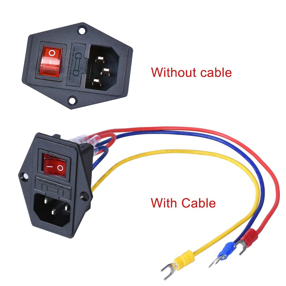 1/2/3 PCS 15A 250V Power Switch AC Power Outlet With Red Triple Rocker Switch Fused Module Plug For 3D Printer Parts