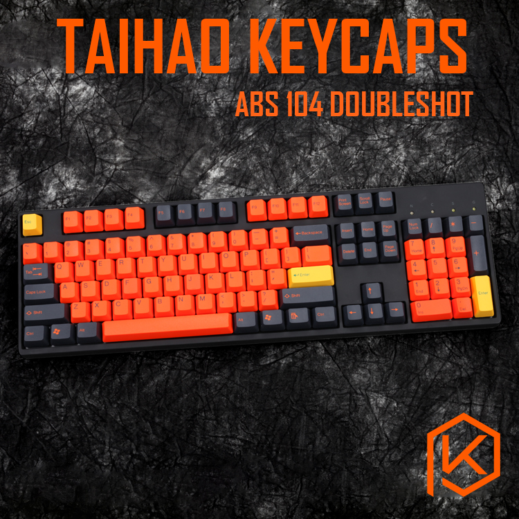 Taihao Abs Double Shot Keycaps For Diy Gaming Mechanical Keyboard Color Of White Orange Grey