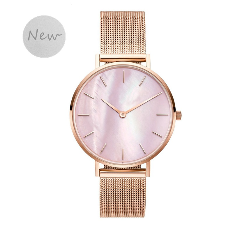 SANSHOOR 4 Colors Stainless Steel Mesh Keeper Watch Armband Bracelet Quartz Movement With Pink Shell As Gifts For Women