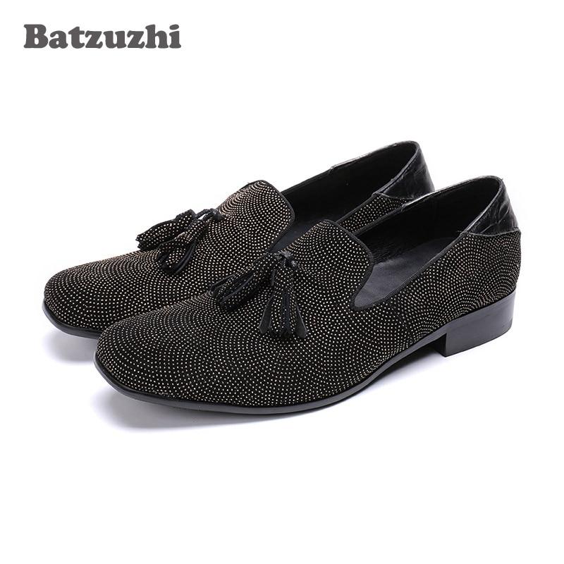 Batzuzhi Brand New Men Shoes Black Crystal Men Loafers Casual Business Leather Shoes Man zapatos de hombre with Tassels, US6-12 fashion tassels ornament leopard pattern flat shoes loafers shoes black leopard pair size 38