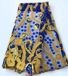 Genuine Wax embroidery African french lace tulle fabric Nigerian sewing cloth with guipure lace borders High quality 5 yards /pc