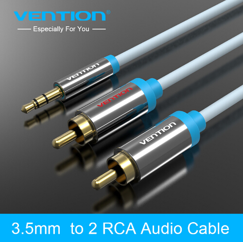 Vention black blue 2RCA to 3 5mm Male font b aux b font cable Gold Plated