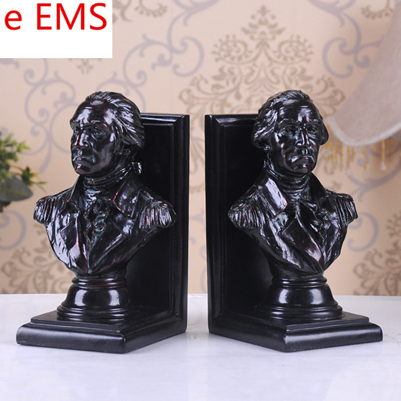 Gypsum George Washington Bust Book End Statue Continental Army Bookends Resin Craftwork Home Decorations Art Material L2337 animals bust retro horse head statue continental resin craftwork home decorations art material l2360