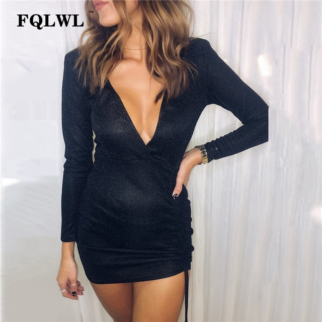 96b5908b269 US $10.63 44% OFF|FQLWL Lace Up Pleated Bandage Dress Women Deep V Neck  Long Sleeve Ruched Bodycon Mini Dresses Female Short Party Sexy Club  Dress-in ...