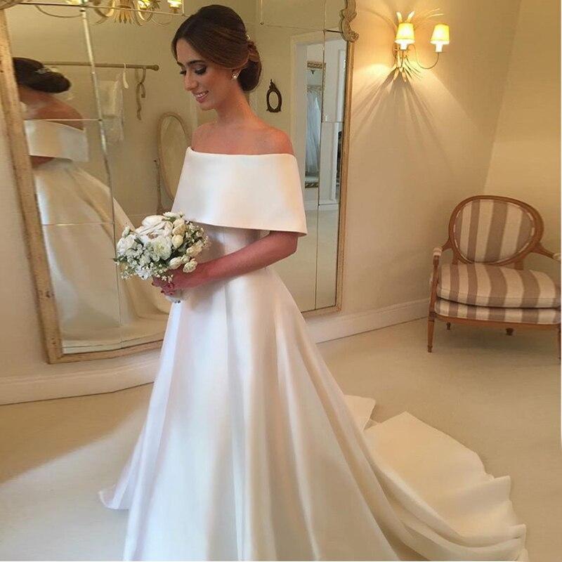 Vintage White Ivory Wedding Dresses Off The Shoulder Satin A-line Bridal Dresses Sweep Train 2019 Hot Sale Vestido De Novia New