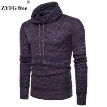 2018 New men fashion tops  winter autumn casual Sweater mens Chinese style turtleneck Urban leisure sweater pullovers EU size