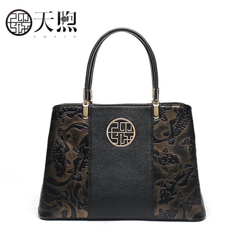 Mode Pmsix Neue Kapazität Schulter Alters Marke Atmosphärischen Wind Große Damen Mittleren Handtaschen black Chinesischen Red 2018 Tasche Handtasche rqcgI4wrR