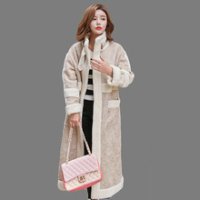 2016 Winter Korean Style Lambswool Coat X-long Loose Plus Size Straight Wool Overcoat Turtleneck Open Stitch Suede Coat SS990