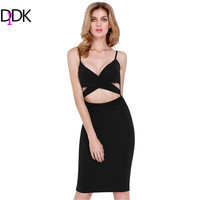 Summer Style 2015 Fashion Women Dresses Club Sleeveless Black Spaghetti Strap Cut Cut High Street Sexy