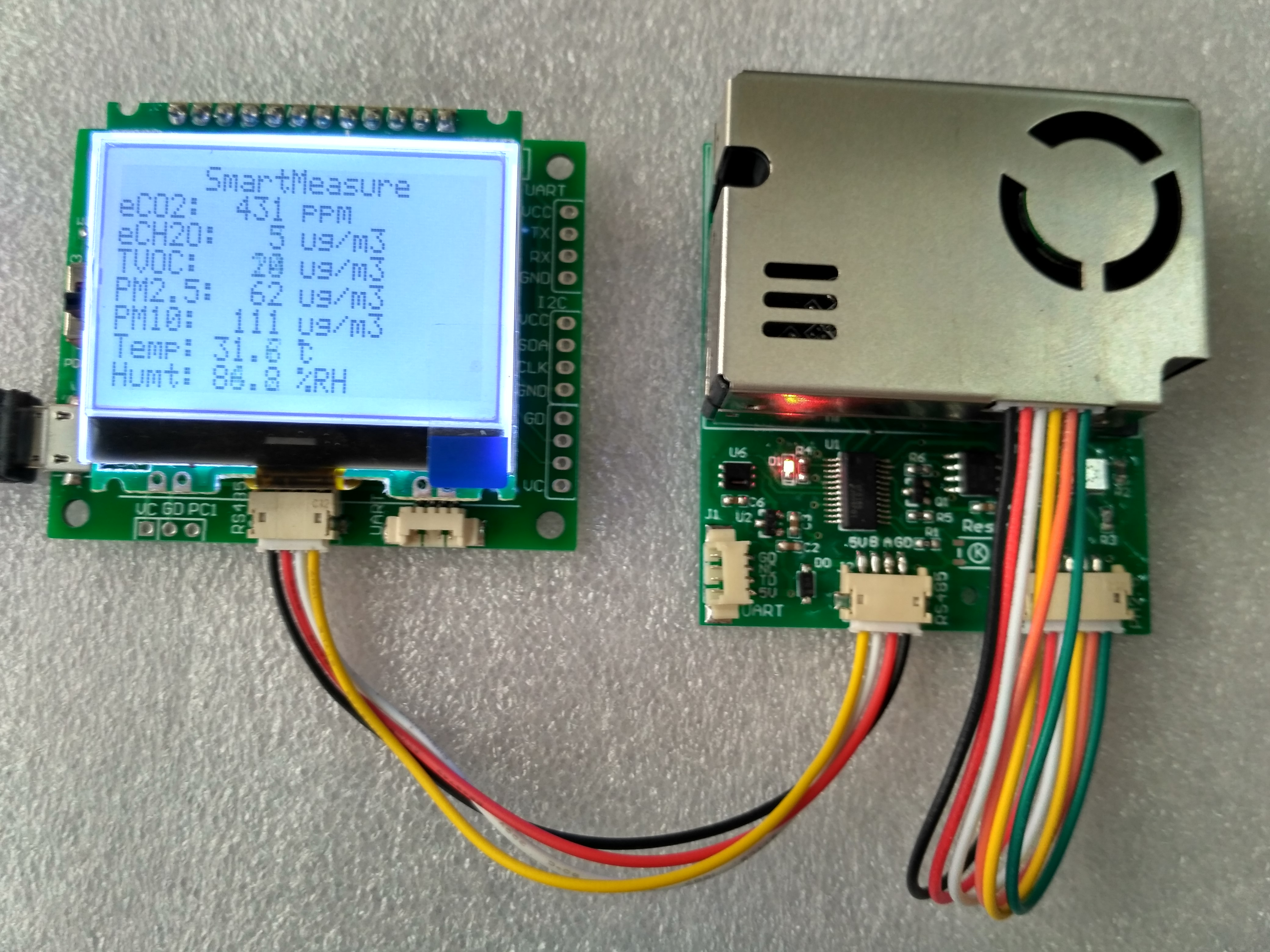 Sensor Module with Screen PM2.5 PM10 Temperature and Humidity C02 Formaldehyde TVOC tvoc tvoc tvoc