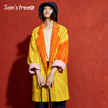 Samstree Winter Female Blends Coat Yellow Plaid Batwing Sleeve Vintage Women Drop-shoulder Turn-down Collar