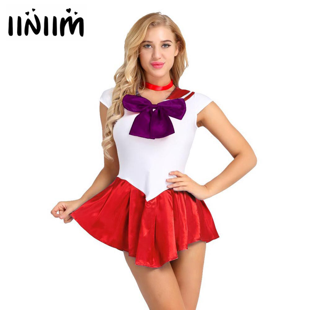 iiniim 2Pcs Women Girls Cap Sleeve Color Block Bowknot Sexy Sailor School Girls Halloween Cosplay Costume Dress with Neck Ring