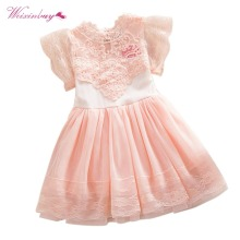 Children Girls Dress Summer Toddler Girls Baby Kids Lace Tulle Dress Floral Princess Tutu Dress 2-7Y