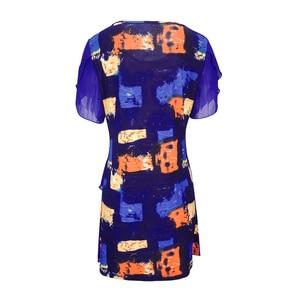Image 3 - נשים חולצות וחולצות עניבה לצבוע בוהמי הדפסת שכבות שיפון נשי חולצות קיץ קצר שרוול טוניקת H227