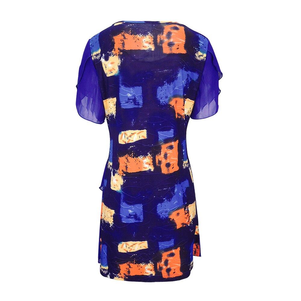 Image 3 - Womens Tops and Blouses Tie Dye Bohemian Print Layered Chiffon Feminine Blouses Summer Short Sleeve Tunic H227Blouses & Shirts   -