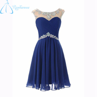 2017 Royal Blue Real Photos Short Prom Dresses Sleeveless Chiffon Pleat Crystal Knee Length Sexy Backless