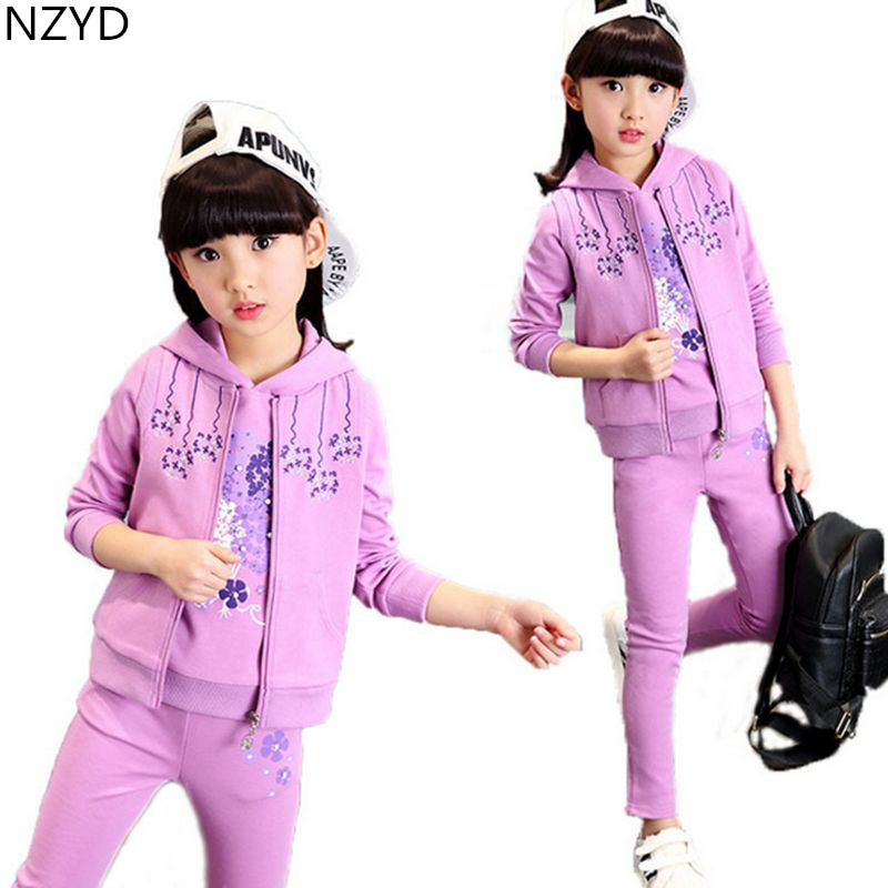 New Spring Autumn Girl Children's Clothing Suit 2017 Hoodie Tops + Vest + Pants Casual Sports Kids Clothes 2PSC Set DC519 free shipping children clothing spring autumn girl fashion sports set hooded sweater pants girl suit